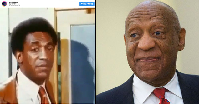Bill Cosby's Instagram page and a photo of him wearing a suit and tie during his trial.