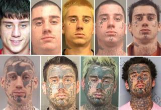 a series of mugshot photos showing how a man has progressed through the years