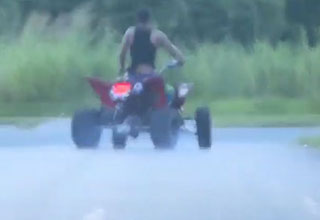 a teenager on a 4 wheel running from police