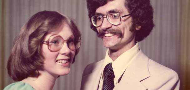 Awkward looking coupole from the 70's with thick glasses