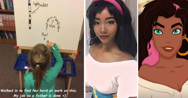 a little girl drawing a star wars scene and a woman in princess jasmine cosplay