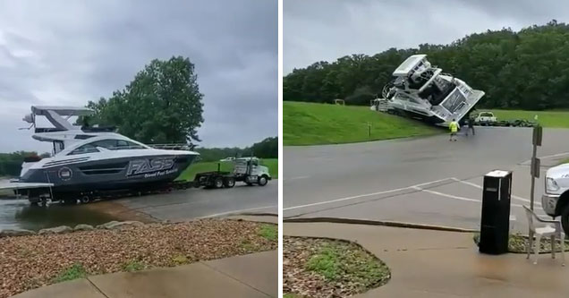 a white truck towing a boat that falls off the trailer