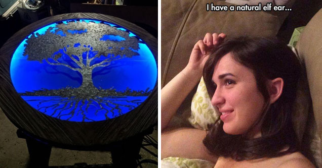 a table with a tree and blue backlight and a girl with a natural efl shaped ear
