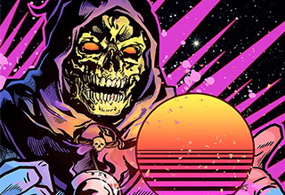 Skeletor artwork in the synthwave and outrun style.