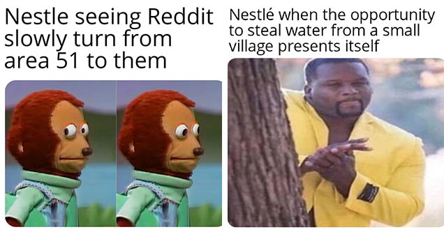 Nestle water controversy memes posted to Reddit in 2019.