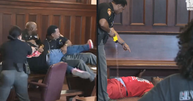 two men attacking a murder in a courtroom