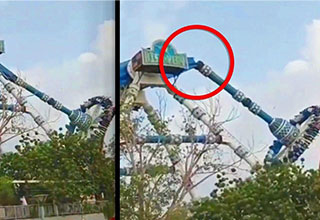 pendulum ride at theme park snaps in half