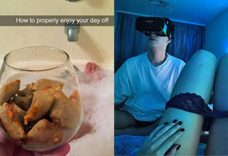 a lady holding taquitos in a glass and a man playing vr with a lady's leg infront of him