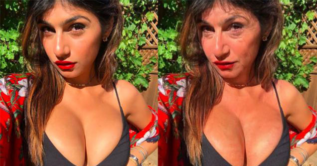 Mia Khalifa in the old person face app