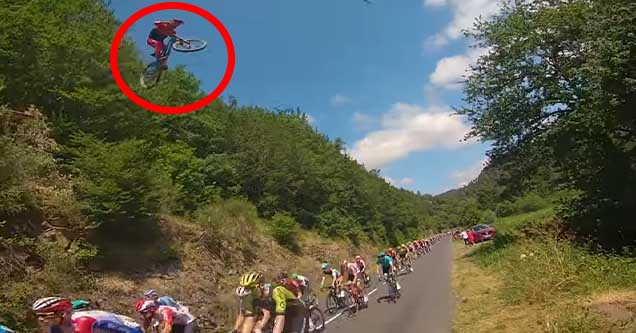 Biker jumps over Tour de France