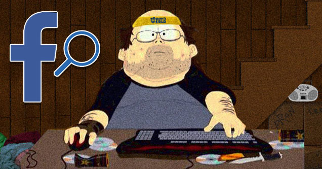 an image with the facebook logo holding a  magnifying glass and the southpark neckbeard