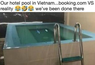 a photo of a hotel pool that was not as advertised in Vietnam