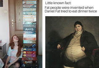 a woman with board games and a fat guy from history