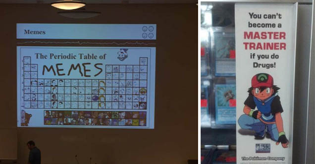 a periodic table of memes and ash from pokemon telling kids not to use drugs