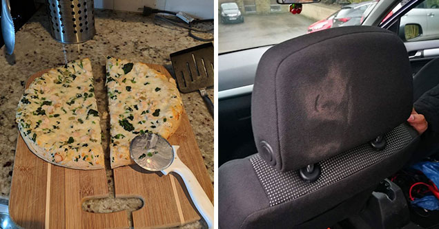 a pizza and cutting board cut in half and a make-up face imprint on a headrest