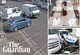 Stills from The Guardian's video about drug smuggler who crashed into cops
