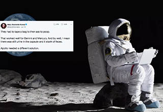 Twitter thread about the difficulties of pooping in space with a picture of an astronaut sitting.