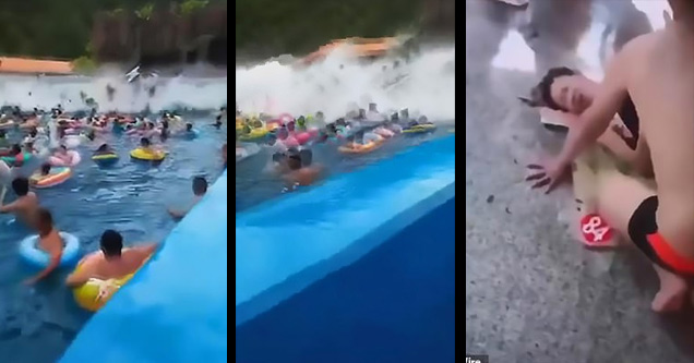 a wave pool at a chinese water park full of people with a tsunami sized wave coming at them