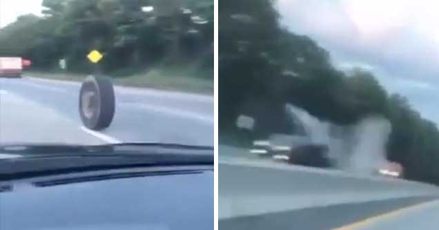 Rogue Truck Tire Absolutely Destroys An Oncoming Vehicle
