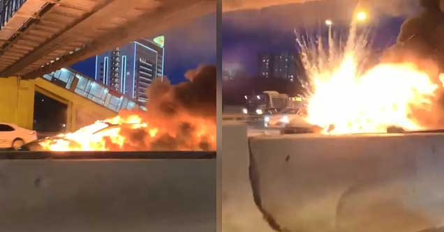 stills from video of a car explosion on a road