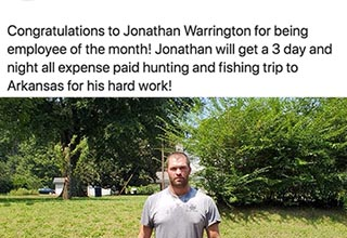 "Give it up for Jonathan! The owner of Complete Termite and Pest Control was awarded with ""employee of the month"" and a vacation. Lucky guy."