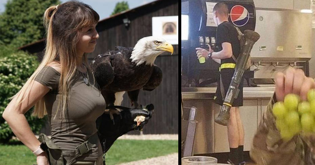 woman holding a bald eagle and man with a bazooka launcher on his back getting a soda