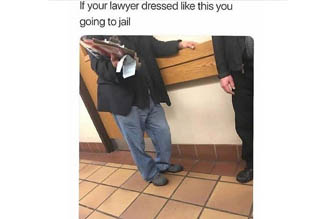 skeletor running in a meme and a lawyer who is dressed in baggy jeans