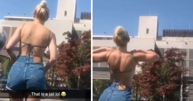 hot chick flashes a jail and the inmates go wild