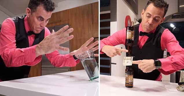Steve-O demonstrates some of his favorite bar tricks