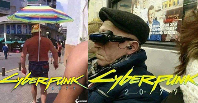 cyberpunk 2077 memes with a guy sticking an umbrella in his shorts and an old man on the bus wearing a vr headset