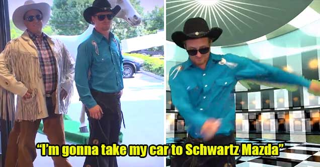 Stills from a very poorly made ad for a local New Jersey-area car dealership