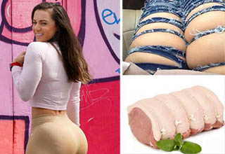 a woman facing a wall and a ham that looks like a lady's legs in jeans