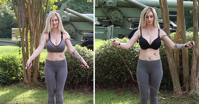 woman does the sports bra jump rope test
