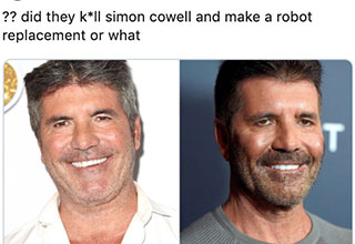 Simon Cowell facelift meme - did they kill Simon Cowell and replace him with a robot