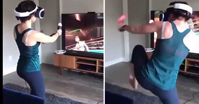 Woman freaks out while playing VR boxing game