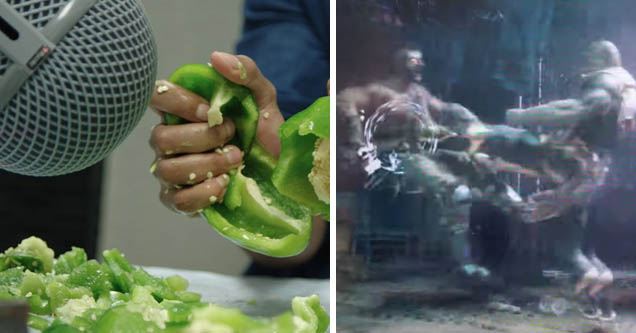 a pepper being split and a man kicking another in mortal kombat
