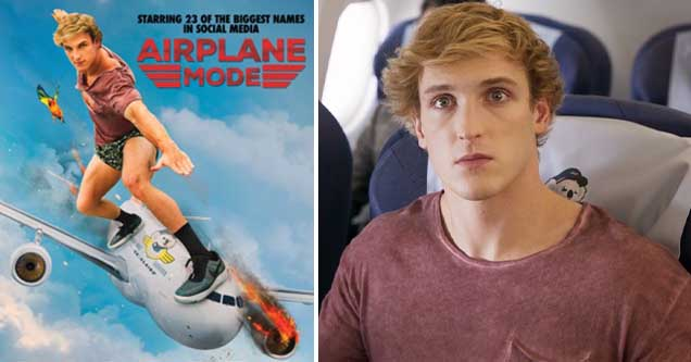Footage still and promotional poster from Logan Paul's film, Airplane Mode
