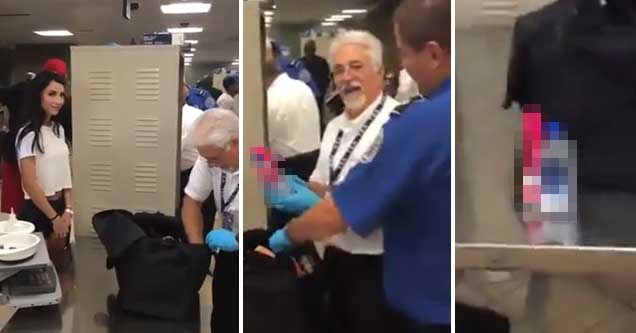 TSA Security guards finding a vibrator in a passengers bag after a prank