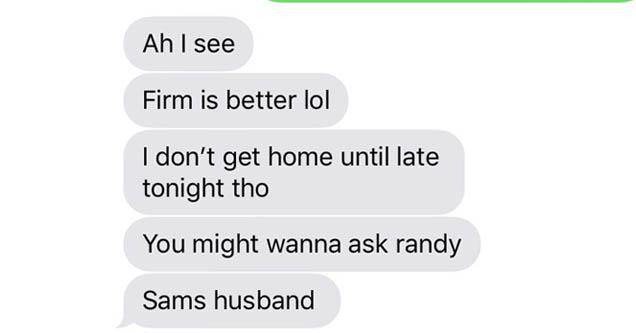 a text message about a mattress and sam's husband