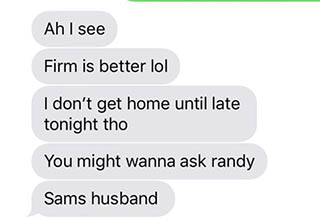 a text message about a mattress and sam's husband