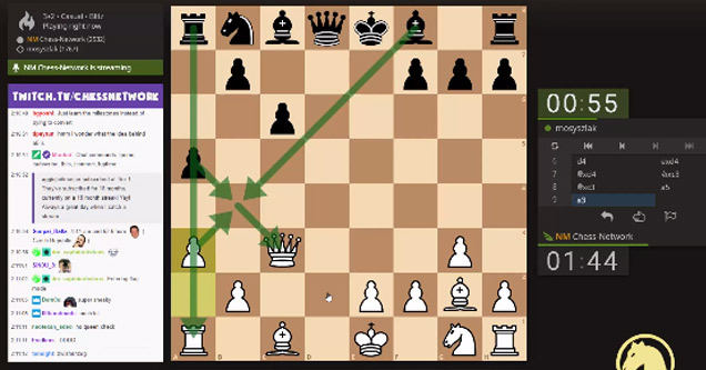 screenshot of a twitch stream of an online chess game
