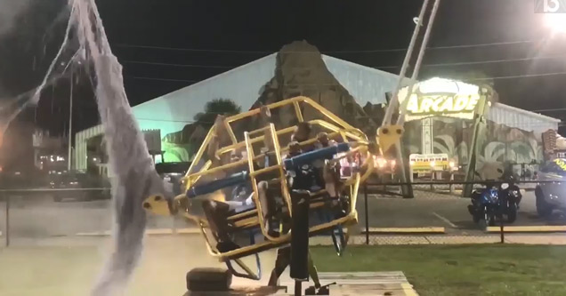 two men on a slingshot ride in panama city when the bungee cable snapped