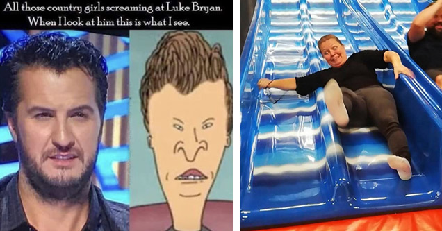 a meme with luke bryan compared to butthead from beavis and butthead