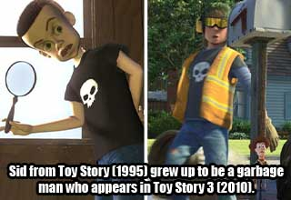 toy story torture kid - Sid from Toy Story (1995) grew up to be a garbage man who appears in Toy Story 3 (2010).