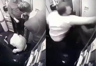 a man praying and then punching a guy on a plane