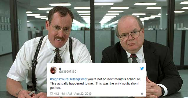 Footage still from Office Space juxtaposed with a tweet about getting fired