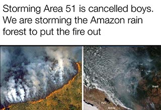 "The <a href=""https://en.wikipedia.org/wiki/Amazon_rainforest"" target=""_blank"">Amazon Rainforest</a> has been <a href=""https://www.ebaumsworld.com/articles/the-amazon-rainforest-is-on-fire/86045595/"">burning for the past three weeks</a> and it's only been brought to most people's attention these past few days. While memes are definitely not going to fix anything, the people of the Internet are churning them out."