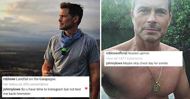 Photos from actor Rob Lowe's Instagram, along with hilarious comments his son left trolling him