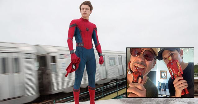 Tom Holland as Spider-Man stands in a screenshot from one of the recent Marvel Spider-Man films. Robert Downey Jr. and Tom Holland pose for an Instagram picture on Holland's page - Spider-Man may be back in the MCU after rumored new agreement.