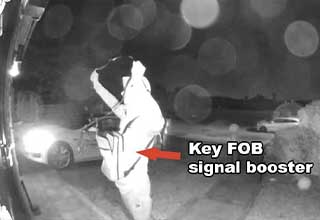 Tech-savvy thief uses a signal booster to amplify a Tesla's key FOB and gain keyless entry to the car